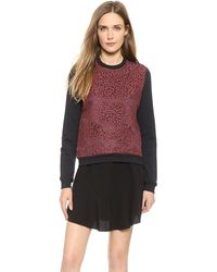 Carven Lace Sweatshirt - Burgundy - Lyst