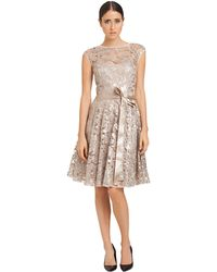 Js Boutique Belted Lace Overlay Dress - Lyst
