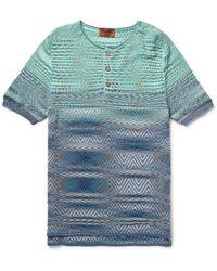 Missoni Striped Cotton Henley T-Shirt - Lyst