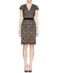 St. John Contrast Plume Lace Belted Dress - Lyst