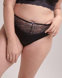 Addition Elle - Two-tone Lace High Cut Panty - Déesse Collection - Lyst