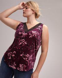 Addition Elle - Lace Trim V-neck Tank Top - Michel Studio - Lyst