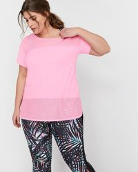 Addition Elle - Nola Mixed Mesh No Sweat T-shirt - Lyst