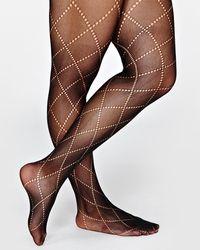 Addition Elle Pointelle Argyle Tights - Black