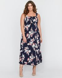 Addition Elle - Michel Studio Printed Maxi Dress With Lace-up & Eyelet - Lyst