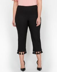 Cropped Tasseled Crinkled-cotton Pants - Black Sensi Studio TpVJiLf