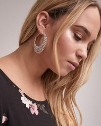 Addition Elle - Rhinestone Hoop Earrings - Lyst