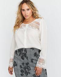 Addition Elle - Crew Neck Blouse With Crochet Details - L&l - Lyst