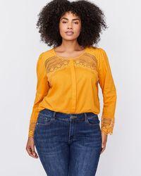 2dd97ec606f Addition Elle - Crew Neck Blouse With Crochet Details - L l - Lyst