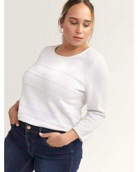 Addition Elle - 3/4 Sleeve Cotton Sweater With Stitching Detail - D/c Jeans - Lyst