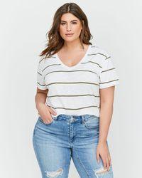 Addition Elle - L&l Striped Boyfriend T-shirt - Lyst