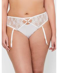 0a290b501de Addition Elle - Ashley Graham Thin Micro Thong With Side Lace Inserts    Removable Garters -