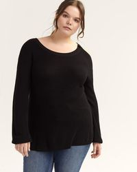 a3ab30fd0d46d Lyst - Addition Elle Knit Top With Ribbed And Striped Cuffs And ...