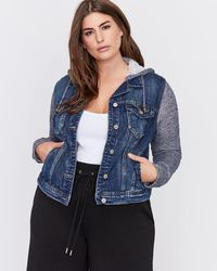 Addition Elle - Jean Jacket With Knit Sleeves And Hood - Silver - Lyst