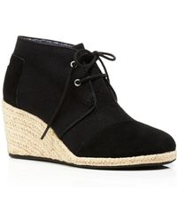 TOMS Lace Up Espadrille Wedge Booties - Desert - Lyst