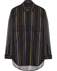 Adam Lippes Striped Silk-Paneled Wool Shirt - Lyst