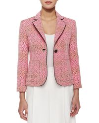 Nanette Lepore One-Button Blazer With Piped Trim - Lyst