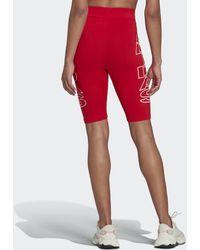adidas Mid-Waist Letter Radlerhose - Rot