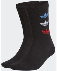 adidas Tricolor Thin Ribbed Crew Socken, 2 Paar - Schwarz