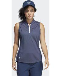 adidas Equipment Primegreen Sleeveless Golf Polo Shirt - Blue