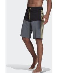 adidas Knee-length Colorblock Board Shorts - Black