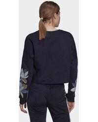 adidas X Farm Rio Print Loose Cropped Fleece Logo Sweatshirt - Blauw