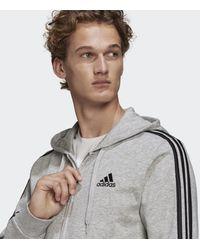 adidas Essentials French Terry 3-stripes Ritshoodie - Grijs