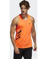 adidas Canotta Own the Run 3-Stripes PB - Arancione