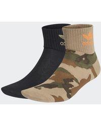 adidas Camo Mid-ankle Socks 2 Pairs - Black
