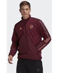 adidas Manchester United Travel Fleece Jack - Paars