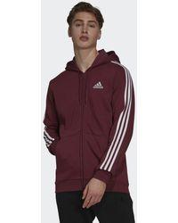 adidas Felpa con cappuccio Essentials Fleece 3-Stripes Full-Zip - Rosso