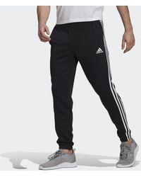 adidas Essentials French Terry Tapered 3-stripes Broek - Zwart