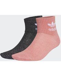 adidas Full-Glitter Mid-Ankle Socken, 2 Paar - Rot