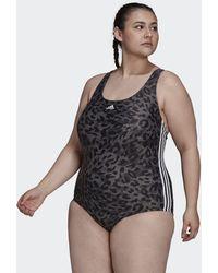 adidas Sh3.ro Summerglow 3-stripes Swimsuit (plus Size) - Grey