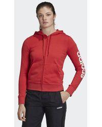 adidas Essentials Linear Kapuzenjacke - Rot