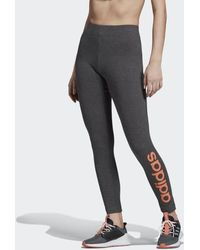 acc64c28807c8 adidas Essential Linear Logo Leggings in Gray - Lyst