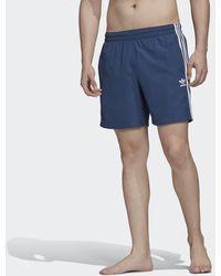 adidas 3-stripes Zwemshort - Blauw
