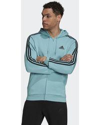 adidas Essentials Fleece 3-stripes Ritshoodie - Groen