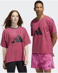 adidas Unite 3-stripes Floral T-shirt (gender Neutral) - Pink