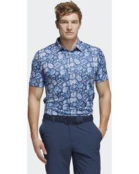 adidas Cobblestone-print Recycled Content Polo Shirt - Blue