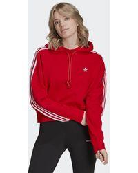 adidas Sudadera con capucha Adicolor Classics Crop - Rojo