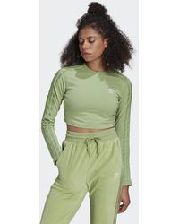 adidas Loungewear Cropped Long Sleeve Jumper - Green