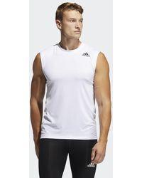 adidas Techfit Sleeveless Fitted T-Shirt - Weiß