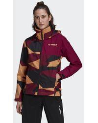 adidas Terrex Multi Rain.rdy Primegreen Allover Print 2-layer Regenjack - Oranje