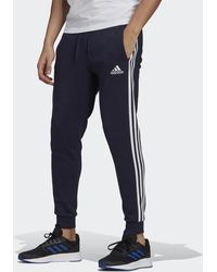 adidas Essentials Fleece Fitted 3-stripes Joggers - Blue
