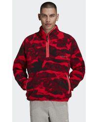 adidas Adventure Polar Fleece Allover Print Half-Zip Sweatshirt - Pink