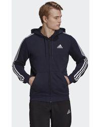 adidas Essentials French Terry 3-stripes Ritshoodie - Blauw