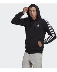 adidas Essentials Fleece 3-stripes Ritshoodie - Zwart