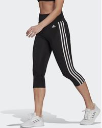 adidas Designed To Move High-rise 3-stripes 3/4 Sport Leggings - Black