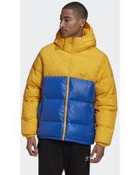 adidas Down Regen Hooded Blocked Puffer Jacke - Blau